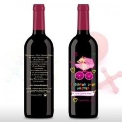 Vino decorada Bautizo 375ml bebe niña carricoche