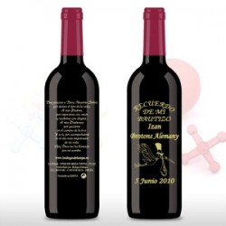 Vino decorada Bautizo 375ml cigueña