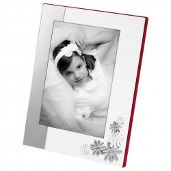 Portafotos de comunión plateados blanco cmbinado flores