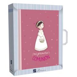 Libro de firmas niña cesta flores