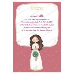 Invitación de comunión niña bouquet flores