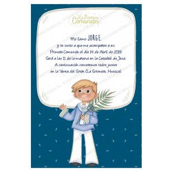Invitación de comunión niño rama olivo