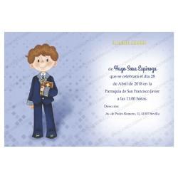 Invitación de comunión niño azul