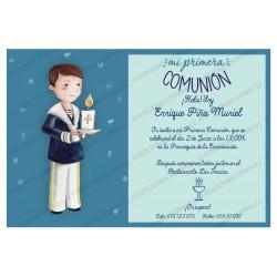 Invitación de comunión niño cirio