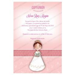 Invitación de comunión niña libro