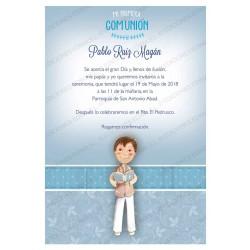 Invitación de comunión niño libro