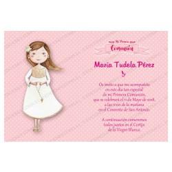 Invitación de comunión niña rosario