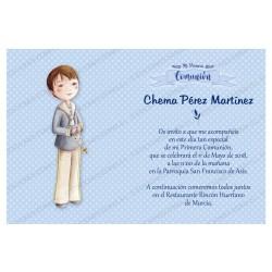 Invitación de comunión niño rosario