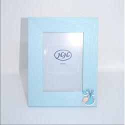 Portafoto madera azul bautizo
