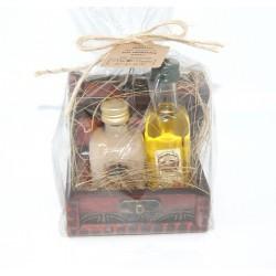 Baúl de madera + Botella Orujo (5 cl.) + Mermelada