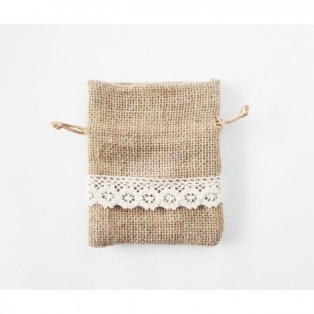 Bolsa de algodón marrón con topos