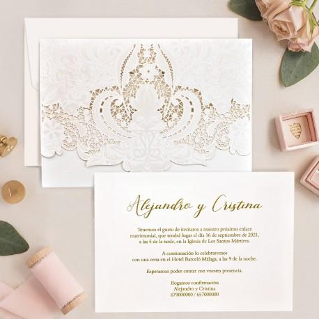 Invitacion de boda portada troquel blanca