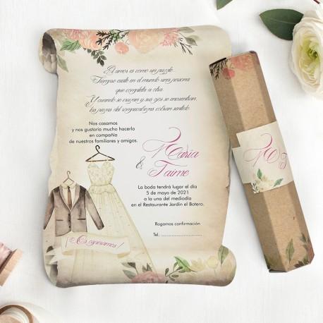 Invitacion de boda pergamino trajes