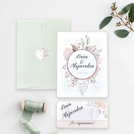 Invitacion de boda postal ramo verde