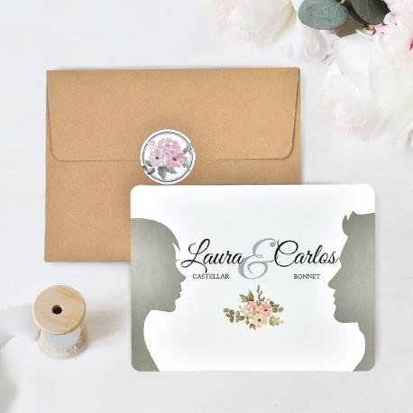 Invitacion de boda postal con rosas