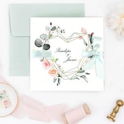 Invitacion de boda corazon de oro