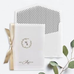 Invitacion de boda tarjeton grofado marfil