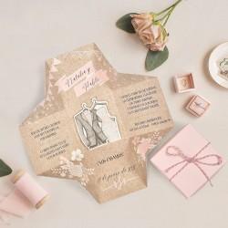 Invitacion de boda cajita trajes