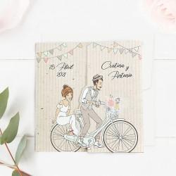 Invitacion de boda papa y mama se casan en bicicleta