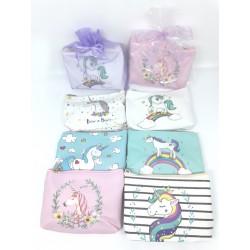 Monedero unicornio + celofán + lazo + tarjeta