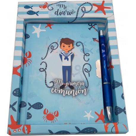 Set diario y bolígrafo mi primera comunión niño