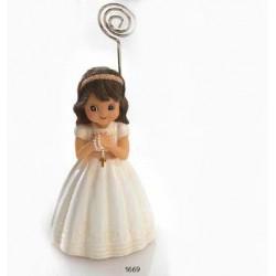 Niña comunión rosario sujeta-tarjetas