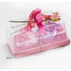 Set 2 velas gelatina flotante con flor pinza rosa