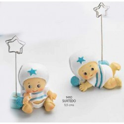 Sujeta-tarjetas bebé niño pijama blanco
