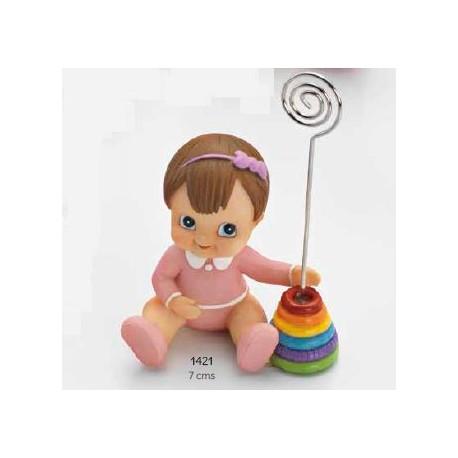 Sujeta-tarjetas bebé niña juguete rosa