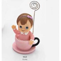 Sujeta-tarjetas bebé niña taza rosa