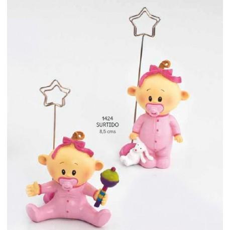 Sujeta-tarjetas bebé niña chupete rosa