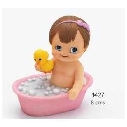 Sujeta-tarjetas bebé niña bañera rosa