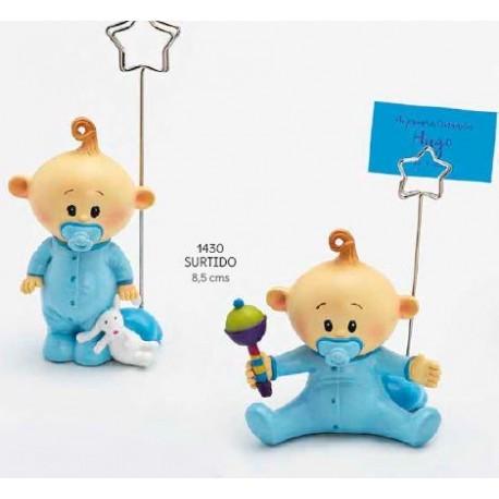 Sujeta-tarjetas bebé niño chupete celeste