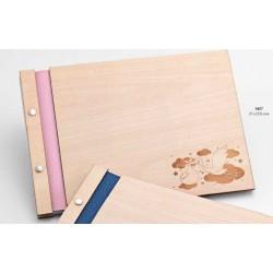 Libro de firmas madera bebé cigüeña rosa