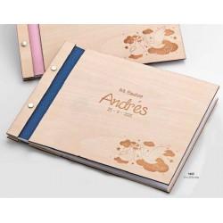 Libro de firmas madera bebé cigüeña azul