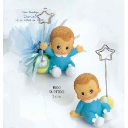 Sujeta-tarjetas bebé niño celeste bracitos