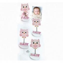 Bebé búho rosa sujeta-tarjetas madera