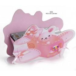 Cesto avión bebé rosa