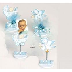 Bebé niño celeste sujeta-tarjetas madera