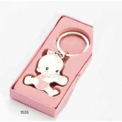 Llavero bebé niña biberón rosa