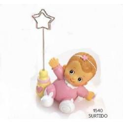 Sujeta-tarjetas bebé niña rosa diadema