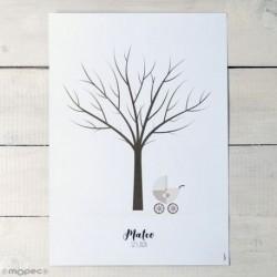 Lámina para enmarcar árbol huella cochecito capota 29,5x42cm