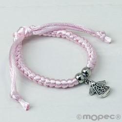 Pulsera rosa con charm de angelito, min.4