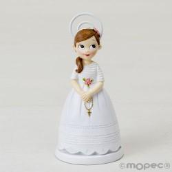 Portafotos resina Comunión niña con rosario,11cm. min.6