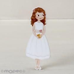 Figura 2D adhesiva niña Comunión vestido corto,11cm. min.6