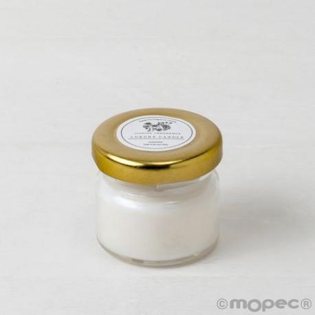 Vela aroma jazmín en frasco,cordón incl. Ø6,5x6cm.min.6