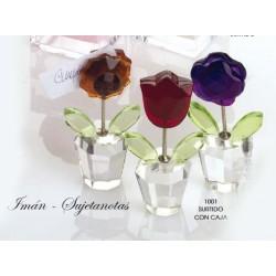 Maceta flor cristal sujeta-tarjetas