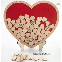 Corazón de deseos madera c/70 corazones