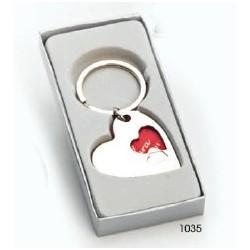 Llavero corazón doble 7 cms. c/cajita regalo plata