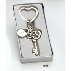 Llavero llave flor candado c/caja regalo plateada